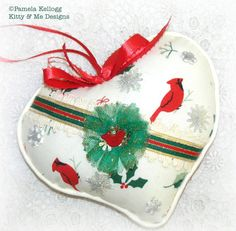 Christmas Cardinal Hanging Heart Ornament Decoration by Kittyandme, $11.95
