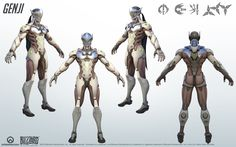 Genji from Overwatch. A close look at the model structure from all angles; a great reference for cosplay. Genji and Overwatch belongs to Blizzard