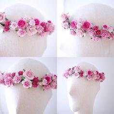 Paper Flower Bridal flower crown headband pink soft pink