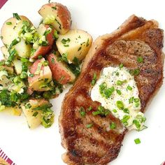 Grilled Steaks with Garlic Chive Butter and French-Style Potato Salad - Tuesday tastes better with French bistro style steak and potatoes on the menu. Get the recipe from Delish. Best Grilled Steak, Grilled Steak Recipes, Grilled Steaks, Steak Dinner Recipes, Grilling Recipes, Beef Recipes, Steak Dinners, Fine Cooking Recipes, Vegetarian Grilling