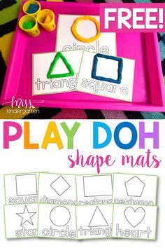 Playdough Mats {shapes freebie} These play doh mats free printables are perfect activites for your kids when learning all about shapes! Children will have fun while working on their fine motor skills. Shape Activities Kindergarten, Playdough Activities, Motor Skills Activities, Preschool Learning Activities, Preschool Printables, In Kindergarten, Toddler Activities, Preschool Activities, Kids Learning