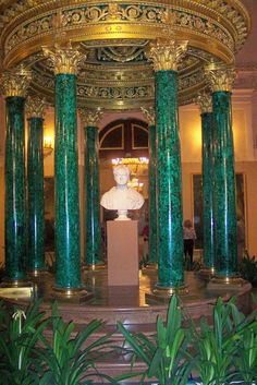 The Malachite Room of the Winter Palace, designed by the architect Alexander Briullov in the late 1830s was used as an official drawing-room of Empress Alexandra Fyodorovna, wife of Nicholas I.