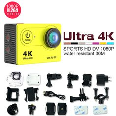 Winait 2017 new style H9 series 4k action camera with remote control 30m waterproof full hd 1080p sport camera made in china