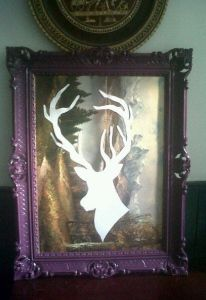 update anything you find in a thrift / charity store. Here's a D.I.Y i done on a old picture turning it into a vibrant deer / stag / antler picture :)