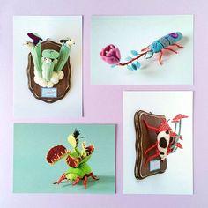 お店やっと再開しました!植物虫シリーズのポストカード4枚セットを追加しました。赤子蛸シール1枚付いてきます! My @etsy shop has reopened! Now 4 postcard sets are available! A set comes with a new baby octopus sticker! www.hine.etsy.com #etsy #hine #postcard #bug #insect #plants