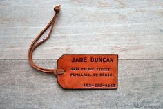 Custom Leather luggage tag by OfTheFountain