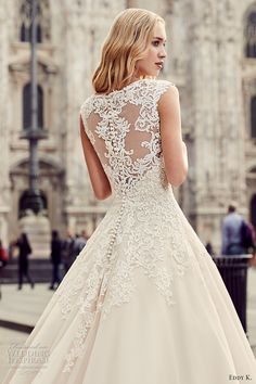 eddy k milano bridal 2017 cap sleeves scoop neckline heavily embellished bodice embellished hem a line romantic ball gown wedding dress long train lace back (md213) zbv