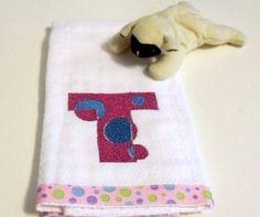 Tiny Bubbles Alphabet Polka Dot Baby Burp Cloth | KallieJosCottonPatch - Children's on ArtFire