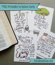 This freebie is by MaryDeanDraws.com and is a selection of hand illustrated Scripture Cards. She created them for a Church Event but decided to offer them as a Free printable on her website. Great…