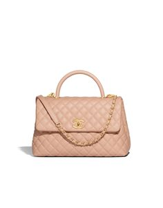 Large flap bag with top handle, calfskin & gold metal-beige - CHANEL