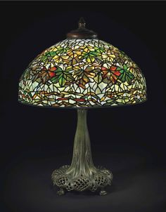 """Lampara de mesa """"Maple Leaf"""" """"Hojas de arce"""" Louis Comfort Tiffany"""