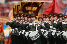 The Drum Corps of the Moscow Military Conservatoire taking the lead (according to tradition) in the 2010 Victory Day parade.