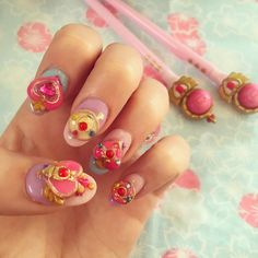 """Simon and Martina Stawski on Instagram: """"After searching online for months, I finally found the lovely Little-Nail Salon who made me these epic custom sculptured Sailor Moon nails! So happy~"""""""