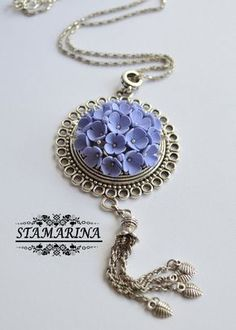 Polymer clay floral pendant Selena. by Stamarina on Etsy