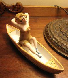 RARE Antique German Galluba Hofmann Bathing Beauty in Canoe