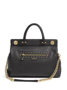 18e3db2f7 Extravagant, Luxurious & Very Feminine. - GUESS Women's Large Textured  Black Leather Satchel Bolsas