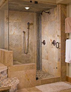 Bon Rustic Master Bathroom With Master Bathroom, Flush Light, Frameless  Showerdoor, Handheld Showerhead