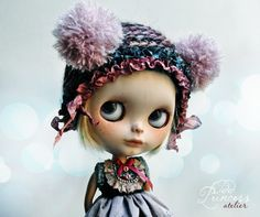 Blythe/Pullip Victorian Hat TWILIGHT MYSTERY By Odd Princess, Hand Knitted Collection