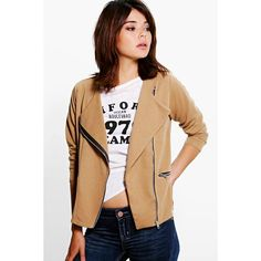 Boohoo Emily Ponte Biker Jacket ($26) ❤ liked on Polyvore featuring outerwear, jackets, camel, ponte knit jacket, beige moto jacket, ponte moto jacket, biker jacket and moto jacket