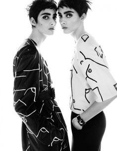 Lia Pavlova & Odette Pavlova are pretty in patterns for Vogue Russia November 2015 by Txema Yeste [editorial]
