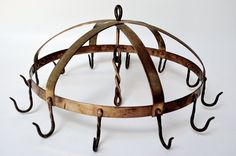 Round Dome Hanging Pot Rack in Brass, Copper and Steel with Vintage Patina
