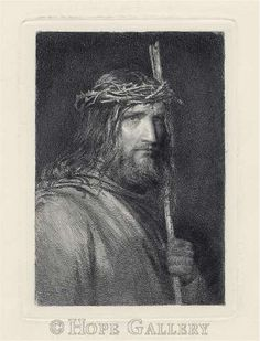"""Christ with Staff etching by Bloch. """"by His stripes we are healed."""" — with Jesus Art. Pictures Of Jesus Christ, Jesus Christ Images, Religious Images, Religious Art, Jesus Sketch, Jesus Face, God Jesus, Christian Artwork, Jesus Christus"""