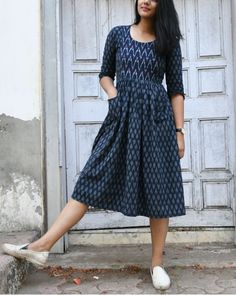 Shop online Blue and white ikat dress Enhanced by the ikat prints and designed with gathers along the waisxsscb .tline, this beautiful ikat dress embraces the contemporary casual way of styling Kalamkari Dresses, Ikkat Dresses, Frock Dress, Saree Dress, Frock Fashion, Fashion Dresses, Trendy Dresses, Casual Dresses, Casual Frocks