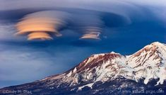 """""""Double Stack II"""" ... Rare double lenticular cloud formation over Mount Shasta, CA (photo by Cindy M. Diaz, 02/05/2007)."""