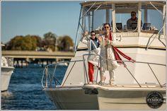 The Groom arrives by boat to the Baraat! Symbol Photography #newportwedding #indianwedding #baraat #octoberwedding