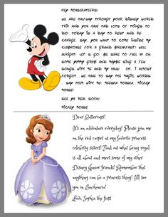 Letters from disney characters