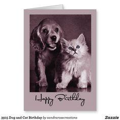 3915 Dog and Cat Birthday Greeting Card