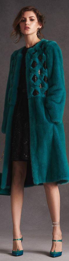 Teal fur coat with inserts - Oscar de la Renta Pre Spring 2016 collection