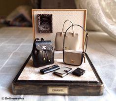Chanel HANDBAGS PURSE (No.21) OOAK decorating display sets -Dollhouse Miniatures 1/12