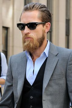 Monsieur Jerome; #street #style; #NYFW ... This is one guy with a hipster-esque beard that I don't want to roll my eyes at... (cause he's doing it chic and looking smokin)