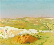 The Somme- A Clear Day; View from the British Trenches opposite La Boisselle, Showing the German Front Line and Mine Craters 1917 - William Orpen