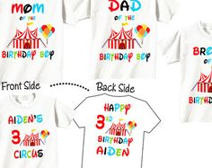 4 Shirt Set Birthday Shirts For Mom And Dad Sibling Child Family With Circus