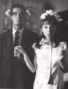Audrey Hepburn with flowers in her hair