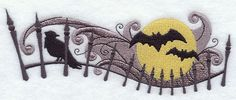 Bats, Raven and Fence w/ Full Moon Flour Sack Towel - Set of Two $28