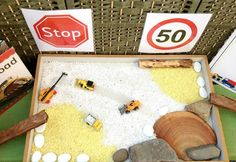"""Construction play with road signs, paper to write on & books to read at St Helens District High School Kindergarten ("""",) Time Activities, Toddler Activities, Preschool Ideas, Teaching Ideas, Play Based Learning, Learning Centers, Construction Area Ideas, Transport Topics, People Who Help Us"""