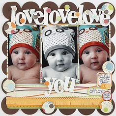 Boy baby scrapbook page with scalloped edge, three photos