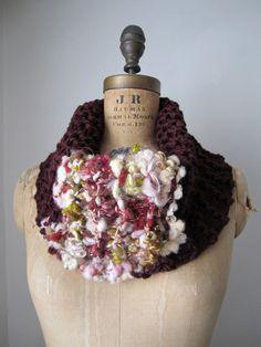 Bohemian knit cowl Burgundy. Olive. Cream. $59