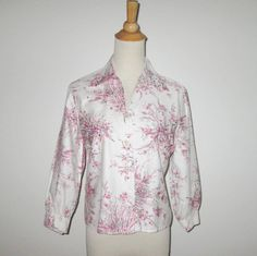 Vintage 1950s Blouse / 50s Pink Floral Rhinestone Blouse By Marion Hagen For Glen Kristi - M by SayItWithVintage on Etsy