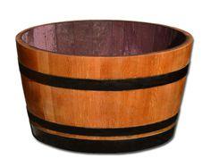 D 70 cm - Weinfass halbiert aus Eichenholz, geschliffen, geölt mit schwarz lackierten Ringen