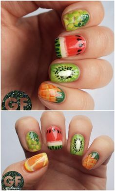 This fruity look is one of the cutest I've seen by far! You can tell it's going to take some time, so if you're still starting out with the whole nail art thing, maybe start with just one accent nail (my favorite is the kiwi!).Nail Art Tutorial and Instructions – GlitterFingersss