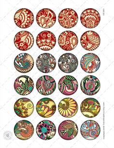 Paisley Digital Collage Sheets 1.5 1.25 30mm 25mm by CobraGraphics