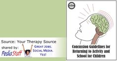 Resource of the Week: Concussion Guidelines for Returning to Activity and School for Children - pinned by @PediaStaff – Please Visit ht.ly/63sNtfor all our pediatric therapy pins