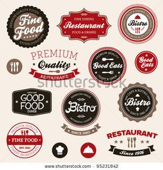 stock vector : Set of vintage retro restaurant badges and labels