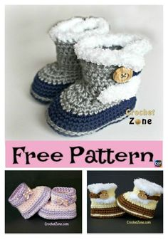 Crochet Fuzzy Booties – Free Pattern – Baby For look here Crochet Baby Boots, Booties Crochet, Crochet Baby Clothes, Crochet Slippers, Baby Bootie Crochet Pattern, Crochet Baby Stuff, Knitted Baby, Crochet Simple, Crochet For Kids