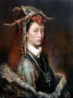Tang Wei Min | http://2.bp.blogspot.com/-Vk1Rbrfw-_o/TxjTcv91jHI/AAAAAAAAvgs/dPAdcmsEUqQ/s800/Tang%2BWei%2BMin%2B%252813%2529.jpg | What is intriguing in the paintings, costume, XIX century's manner?