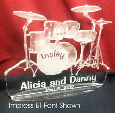 Drumset Cake Topper, Personalized For Your Event (Wedding, Birthday,Etc) http://www.best-engraving.com/DrumsetCakeTopper.aspx
